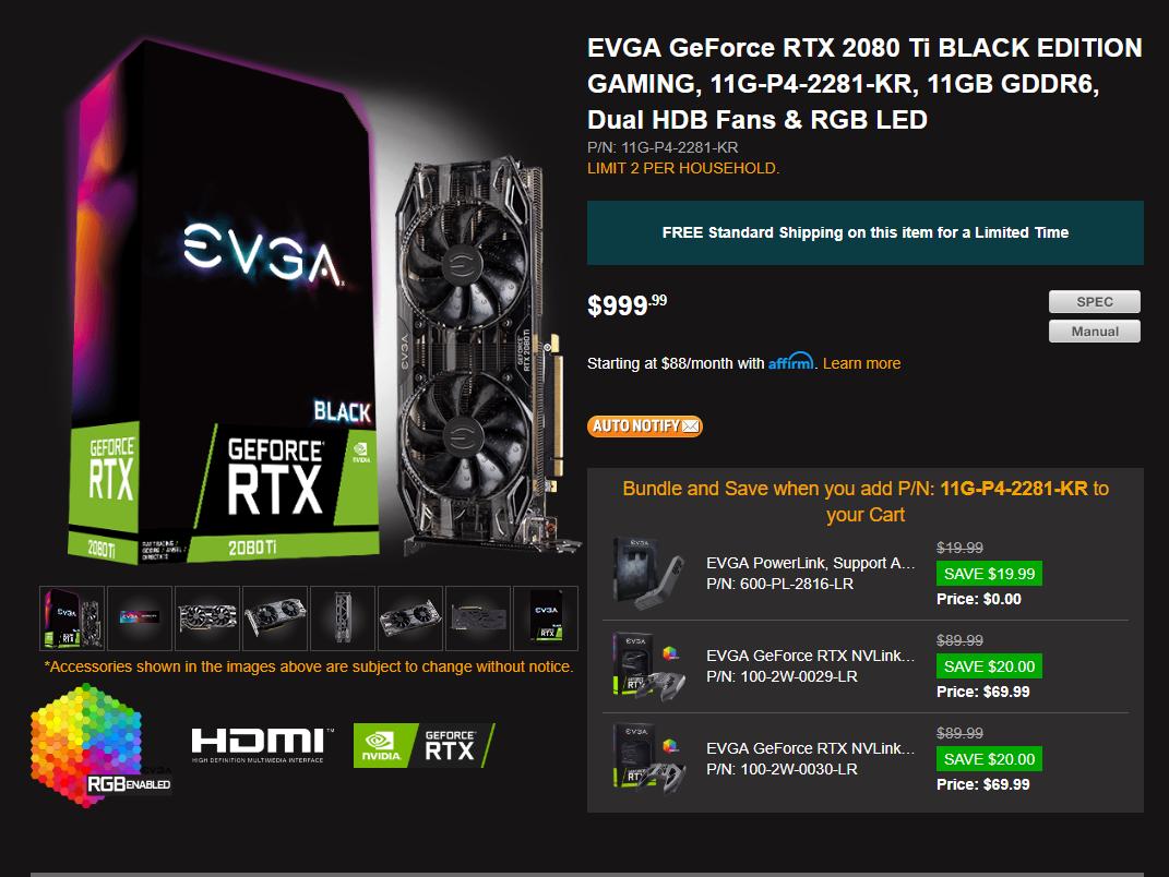 $999 EVGA 2080ti Black Edition: A good deal?   [H]ard Forum