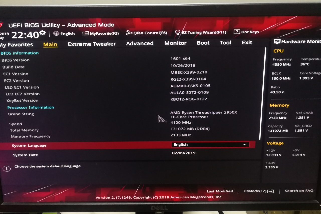 Zenith Extreme X399 : Memory Code AD Detect Memory (New