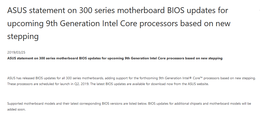 Intel's 9th Generation Core Family - R0 Stepping | [H]ard|Forum